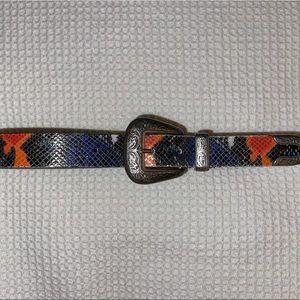 UO Multicolor Snakeskin Leather Belt